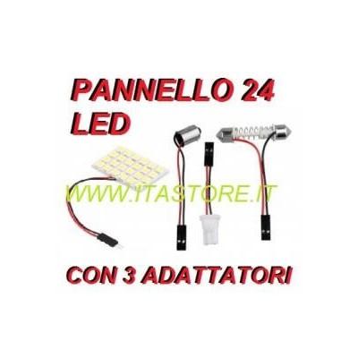Pannello luminoso adesivo per auto con 24 LED SMD con luce bianca con 3 adattatori