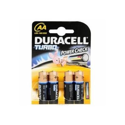 4 Batterie pile alcaline Duracell TURBO Stilo AA POWER CHECK tester integrato