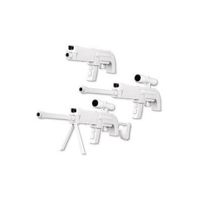 Fucile Sniper Rifle da cecchino con mirino, bipiede e vibrazione per Nintendo WII bianco mod 6