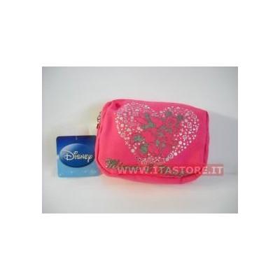Borsellino borsello Disney morbido Topolino e Topolina fuxia rosa con cerniera