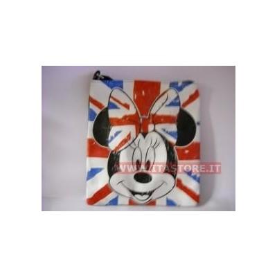 Borsa Disney nera a tracolla regolabile con Minnie Topolina bandiera inglese e cerniera