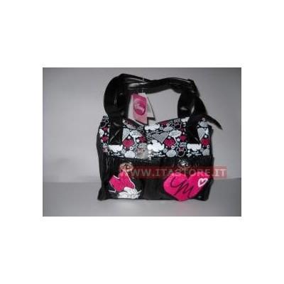 Borsa Disney nera Topolina con maniche e tracolla con tasche e cuore Rosa in rilievo