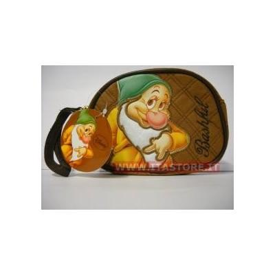 Borsellino borsello Disney morbido Mammolo Bashful marrone con cerniera e taschina