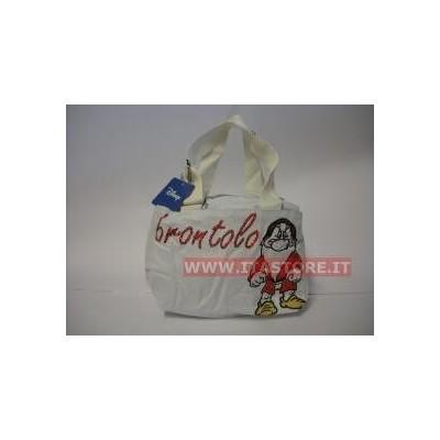 Borsa Disney Brontolo in cotone bianca con manica regolabile 3 scomparti con cerniere