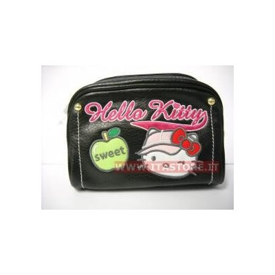 Borsellino borsello Hello Kitty by Camomilla in pelle nera con cerniera originale Sanrio