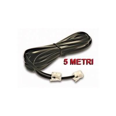 Prolunga cavo filo telefonico RJ11 colore nera lunga 5 metri per telefono coordless