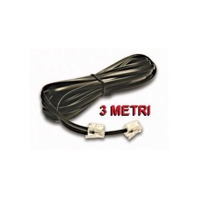 Prolunga cavo filo telefonico RJ11 colore nera lunga 3 metri per telefono coordless