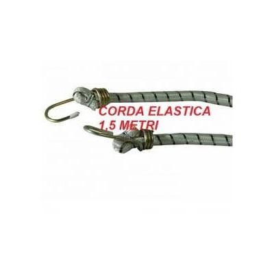 Corda elastica portapacchi con 2 ganci in ferro lunga 1,5 metri