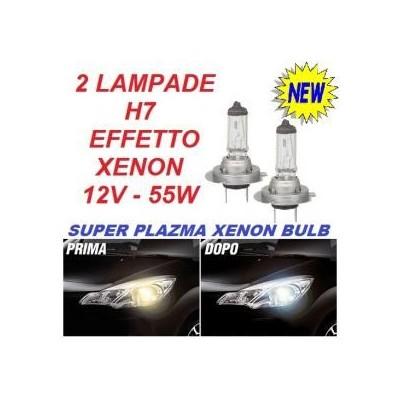 Coppia fari auto lampade alogene H7 12V 55W luce bianca effetto Xenon HID