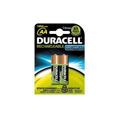 2 Batterie pile Ricaricabili Precharged Stilo AA Duracell 1950 mAh