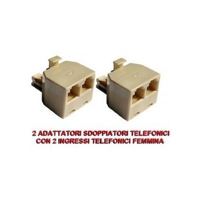2 Adattatori sdoppiatore splitter telefono con 2 porte uscite prese RJ11 e 1 entrata maschio
