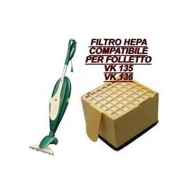 Microfiltro filtro igienico Hepa protezione motore compatibile Folletto Vk 135-136