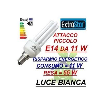 Lampada lampadina compatta a risparmio energetico E14 da 11 W luce bianca fredda