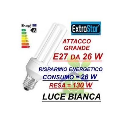 Lampada lampadina compatta a risparmio energetico E27 da 26 W luce bianca fredda