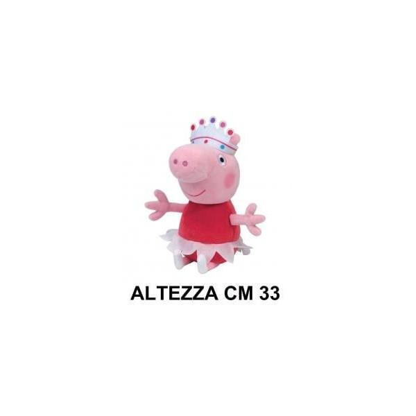 Peluche 33 cm Peppa Pig con vestito rosa e corona T3 originale con cartellino PeppaPig