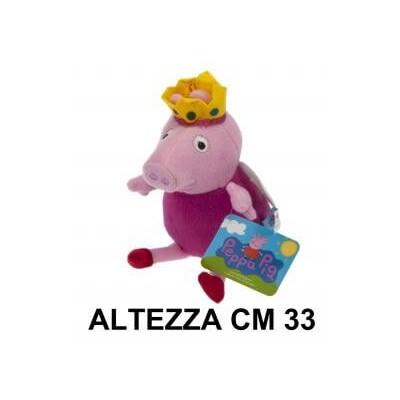 Peluche 33 cm Peppa Pig con vestito viola con corona e ali T3 originale con cartellino PeppaPig