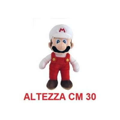 Peluche grande 30 cm Mario Bianco - linea Super Mario Bros originale Nintendo certificato