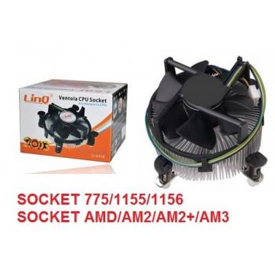 Ventola raffreddamento dissipatore CPU socket 775 1155 1156 mod Linq LI-v115