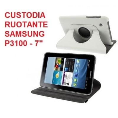 Cover custodia ruotante 360 in ecopella bianca per Samsung Tab 2 da 7