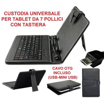 Custodia universale tablet da 7 pollici in ecopelle nera con tastiera micro USB