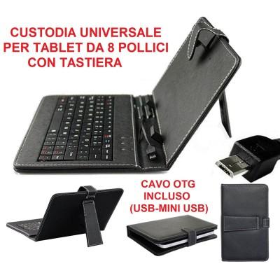 Custodia universale tablet da 8 pollici in ecopelle nera con tastiera micro USB