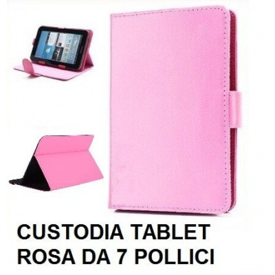 Custodia tablet universale in ecopelle rosa per tablet da 7 pollici