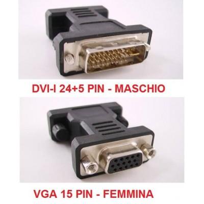 Adattatore convertitore per cavi video da DVI-I maschio a VGA femmina