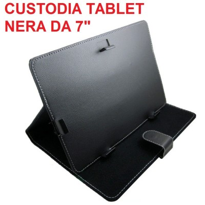 Custodia tablet universale in ecopelle nera per tablet da 7 pollici