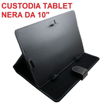Custodia tablet universale in ecopelle nera per tablet da 10 pollici