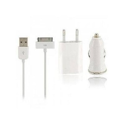 Iphone 4 Kit 3 pezzi accessori ricarica batteria auto e rete con cavo 1 metro