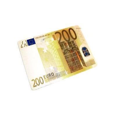 Tappetino mouse pad banconota 200 euro morbido antiscivolo in gomma misure 28 x 20 cm