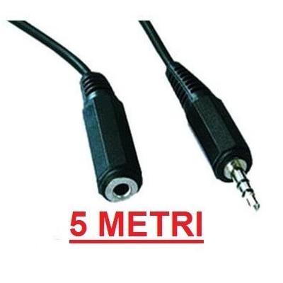 Cavo prolunga audio stereo 5 metri jack da 3,5 mm maschio femmina