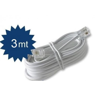 Prolunga cavo filo telefonico RJ11 per telefono coordless colore bianco lunga 3 metri