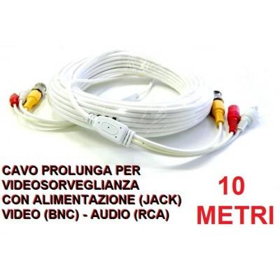 Cavo prolunga BNC video audio 10 metri per videosorveglianza con alimentazione per telecamere