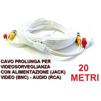 Cavo prolunga BNC video audio 20 metri per videosorveglianza con alimentazione per telecamere