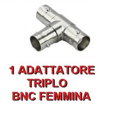 Adattatore connettore triplo BNC femmina per videosorveglianza