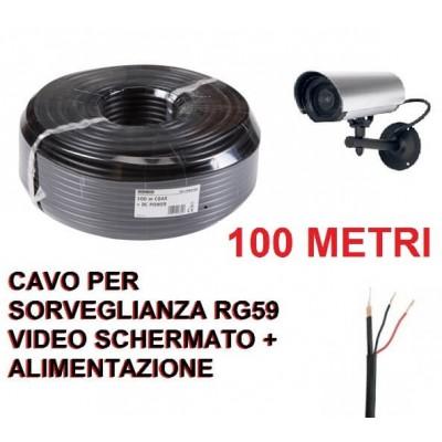 100 metri Cavo matassa coassiale nero RG59 videosorveglianza con alimentazione telecamere