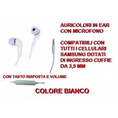 Cuffia auricolari in ear da 3,5mm per Samsung con microfono e tasti on off e volume