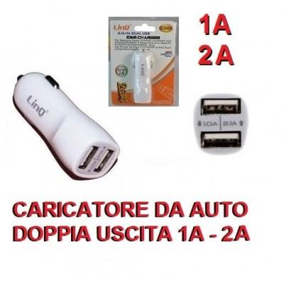 Caricatore da auto con doppia uscita 1A e 2A per Smartphone e Tablet 5V
