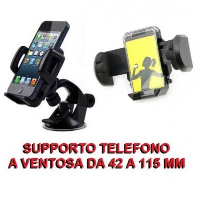 Supporto universale da auto da 42 a 115 mm a ventosa per cellulari smartphone iphone
