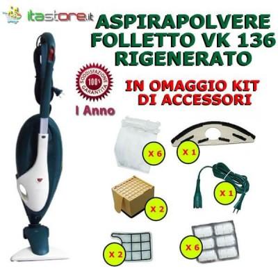 Aspirapolvere Vorwerk Folletto mod. VK 136 rigenerato con omaggi e garanzia