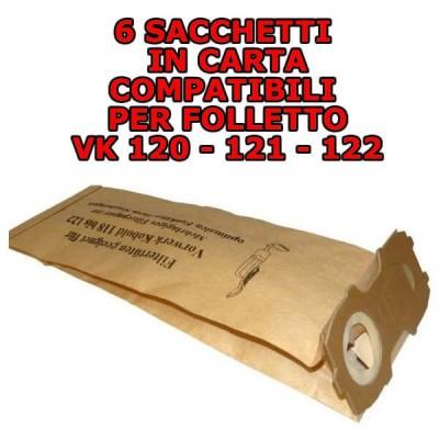 8 Sacchetti filtro in carta antibatterica compatibili per Folletto Vk 120-121-122 in confezione risparmio