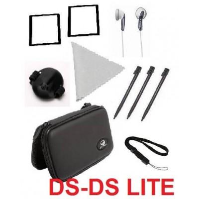 Kit Nintendo DS Lite 10 in 1 con custodia pellicole cuffie pellicole e pennino