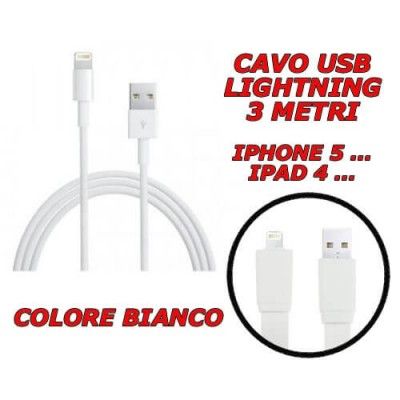 Cavo cavetto Lightning dati USB 2.0 bianco 3 metri per Apple Iphone 5 Ipad 4