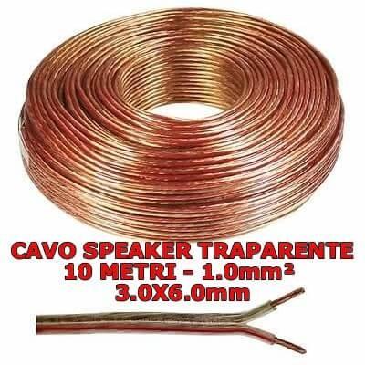 Cavo speaker trasparente di 10 metri 2x1mmq per audio altoparlanti casse