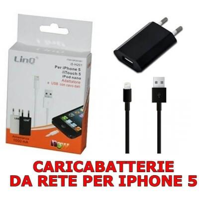 Iphone 5 caricabatterie da rete elettrica 1 A con cavo lightning  USB di 1 metro