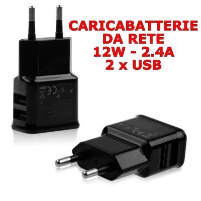 Alimentatore caricabatterie caricatore universale con 2 USB da rete 2.4 A - 12W