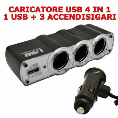 Caricabatterie da auto sdoppiatore accendisigari 4 in 1 con 3 prese e 1 porta Usb