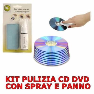 Kit pulizia CD e DVD graffiati e rovinati con spray 40 ml e panno assorbente