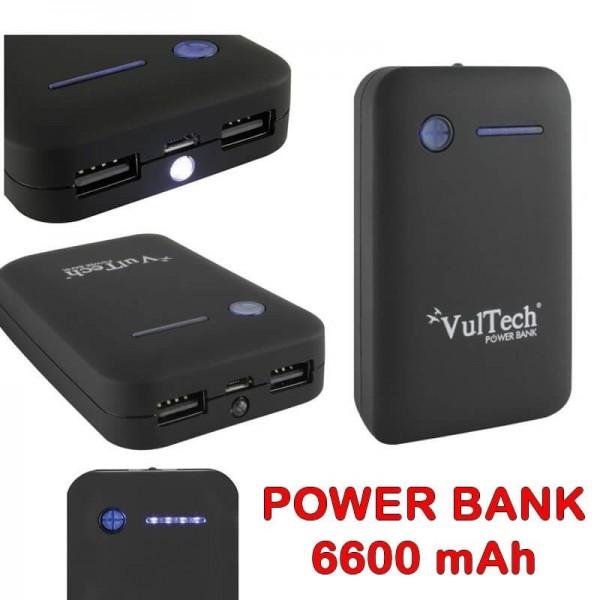 Power Bank VulTech da 6600 mAh nero con torcia universale smartphone cellulari